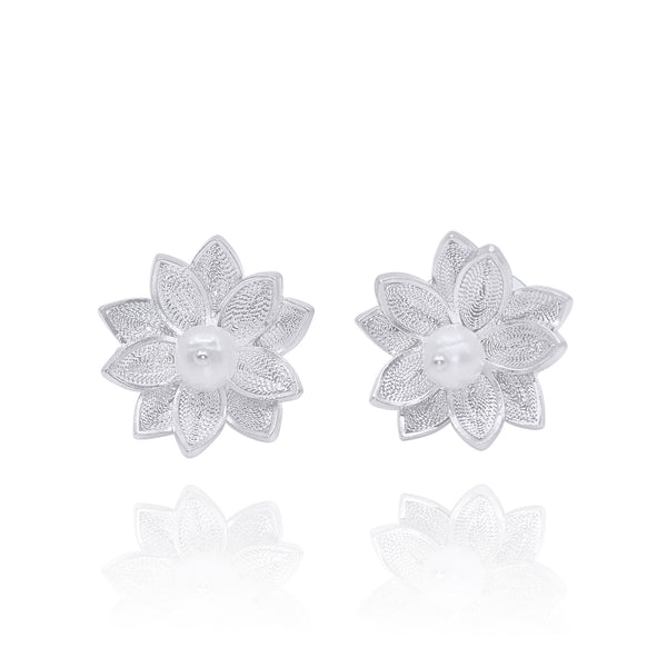 BETSY STUD EARRINGS FILIGREE SILVER & GOLD - Olmox