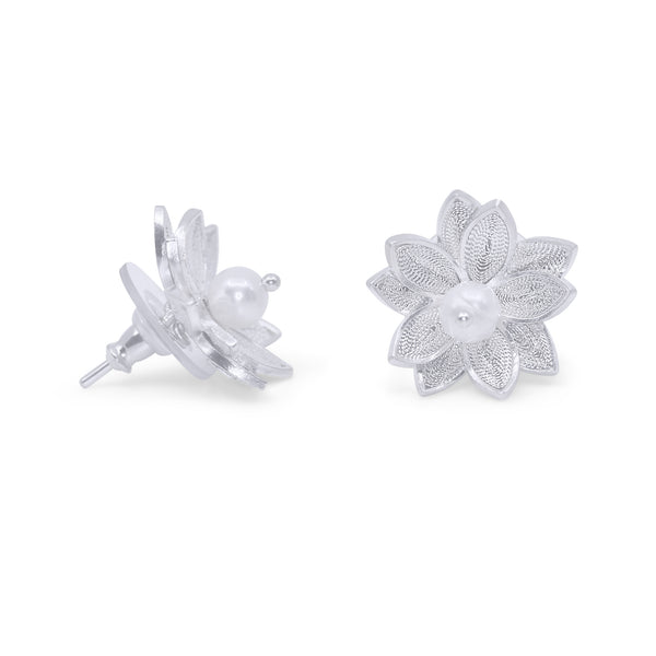 BETSY STUD EARRINGS SILVER - Olmox