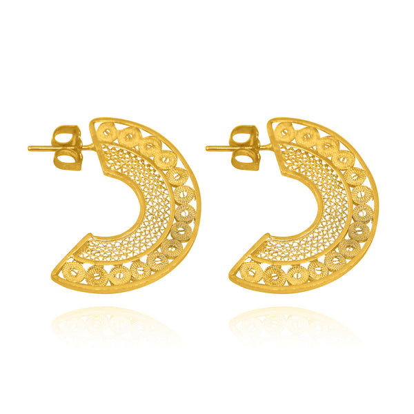 GABRIELLA MEDIUM EARRINGS FILIGREE SILVER & GOLD - Olmox