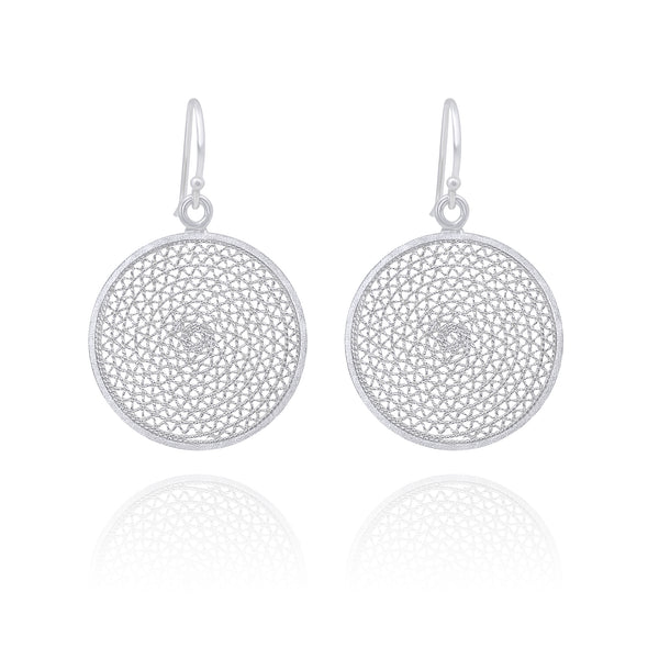 MELI DREAM CATCHER MEDIUM EARRINGS SILVER - Olmox