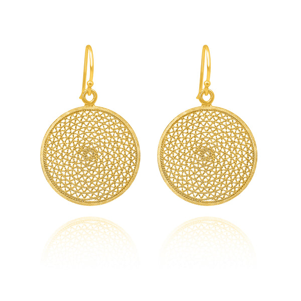 MELI DREAM CATCHER MEDIUM EARRINGS SILVER & GOLD - Olmox