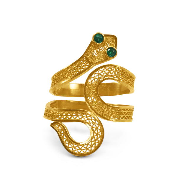 SNAKE RING EMERALD GOLD 18K - Olmox