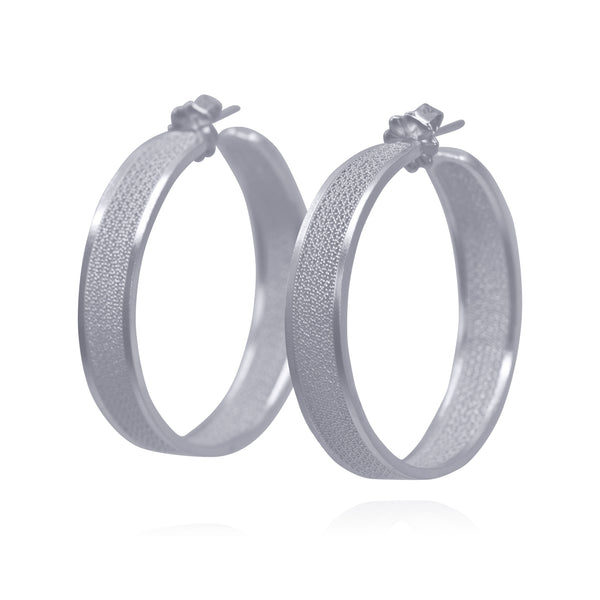 KELSEY HOOPS LARGE EARRINGS SILVER - Olmox