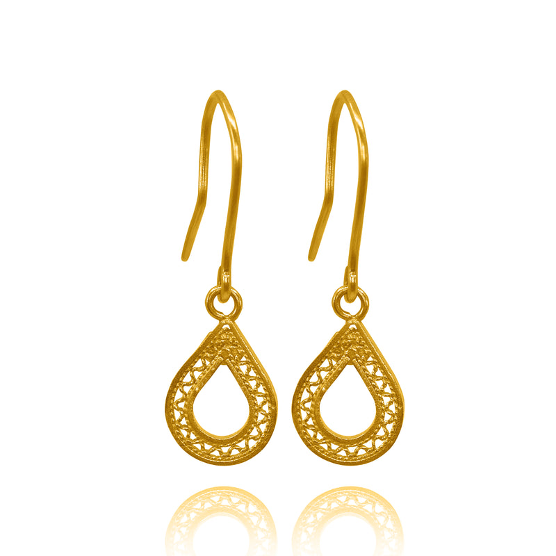 MAKARA  EARRINGS FILIGREE SOLID GOLD 18K - Olmox