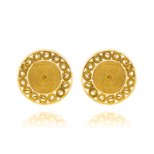 MAGGIE STUD EARRINGS FILIGREE SOLID GOLD 18K - Olmox