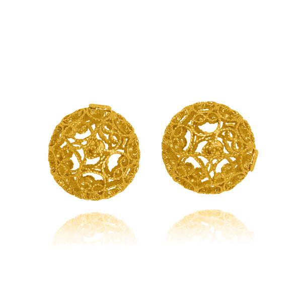 LUCRECIA STUD EARRINGS SOLID GOLD 18K - Olmox
