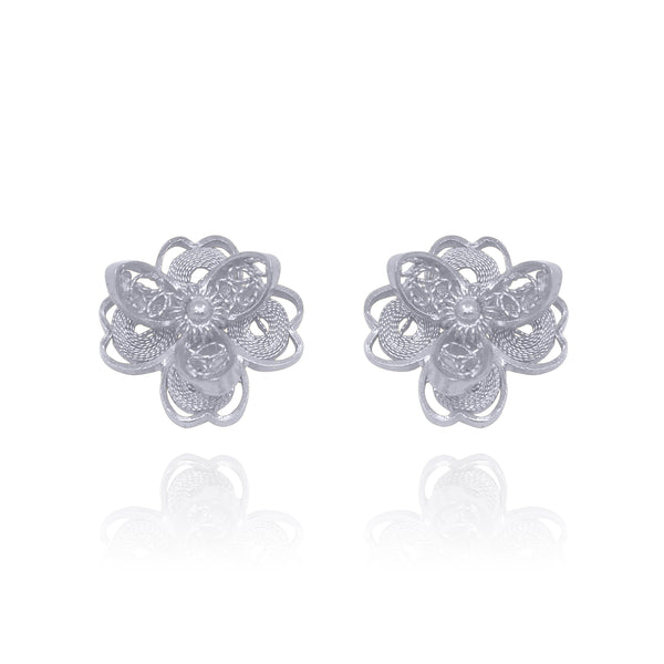LOTUS STUD EARRINGS FILIGREE SILVER & GOLD - Olmox