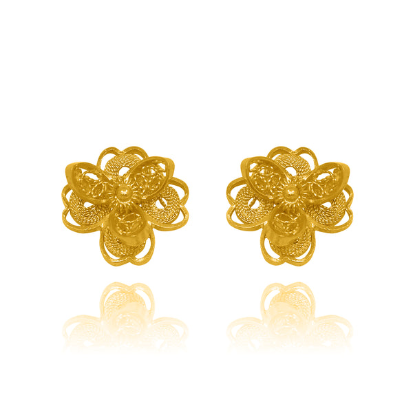 LOTUS FLOWER STUD EARRINGS FILIGREE SOLID GOLD 18K - Olmox