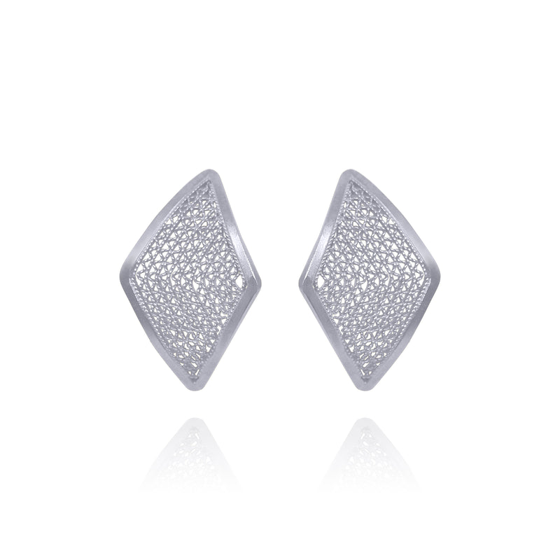 IVY STUD EARRINGS SMALL SILVER - Olmox