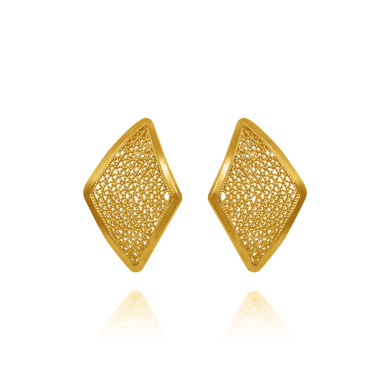 IVY STUD EARRINGS SMALL FILIGREE SOLID GOLD 18K - Olmox