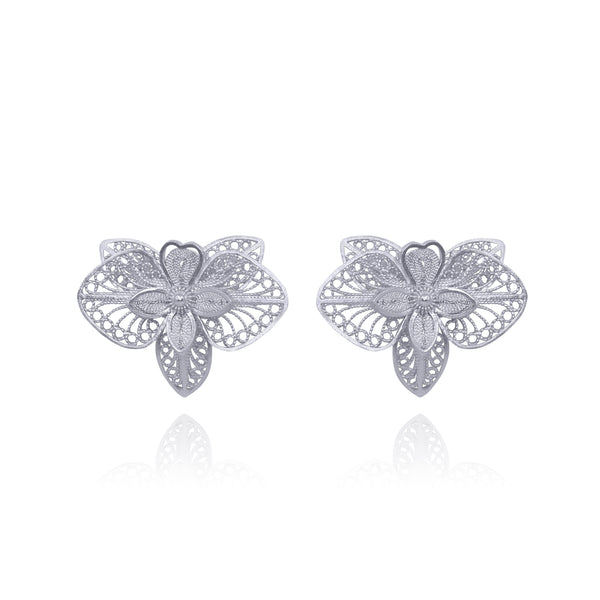 ORQUIDS FLOWER STUD EARRINGS SILVER - Olmox