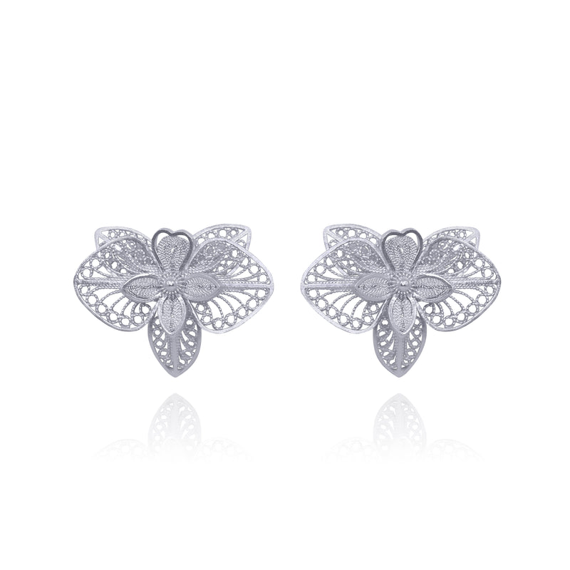ORCHIDS FLOWER STUD EARRINGS SILVER & GOLD - Olmox