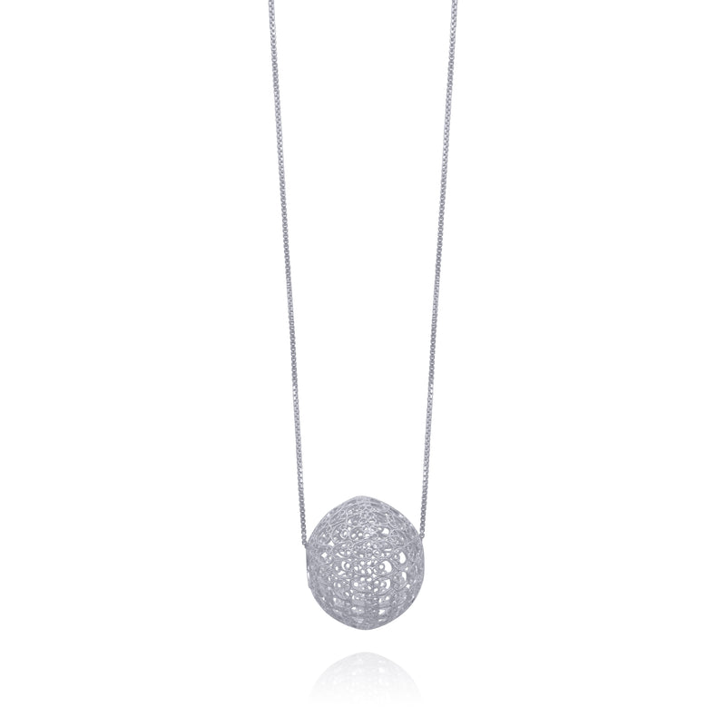 LUCRECIA LARGE SPHERE SILVER NECKLACE - Olmox