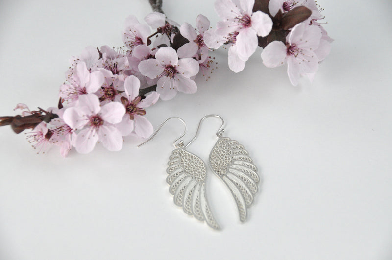 ANGEL WING LARGE EARRINGS FILIGREE SILVER & GOLD - Olmox