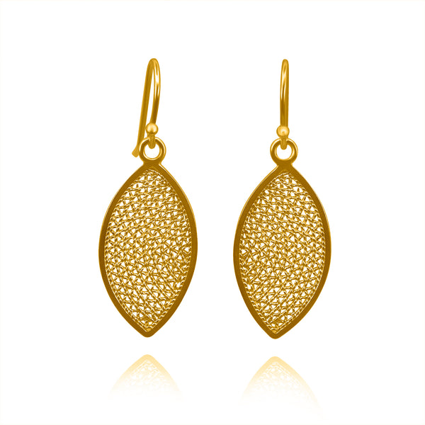 EDEN SMALL EARRINGS FILIGREE SOLID GOLD 18K - Olmox