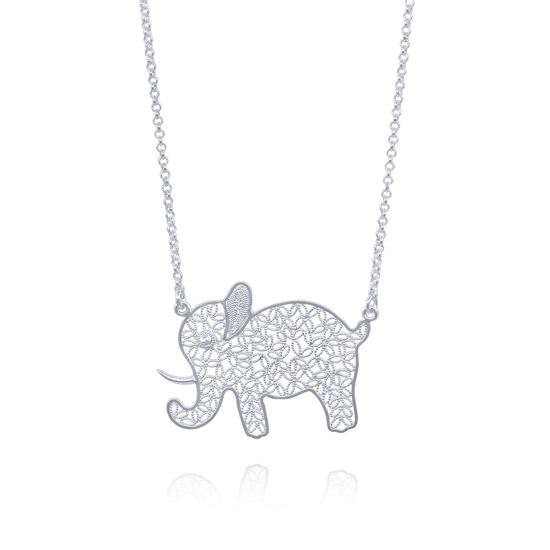 ELEPHANT BIG PENDANT NECKLACE FILIGREE SILVER & GOLD - Olmox