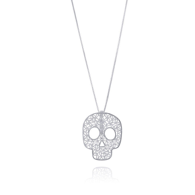 COCO SKULL MEDIUM PENDANT NECKLACE SILVER, GOLD, ROSE GOLD - Olmox