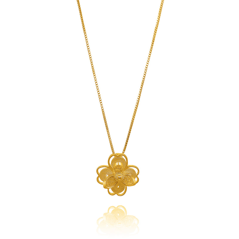 LOTUS PENDANT NECKLACE FILIGREE SILVER, GOLD, ROSE GOLD - Olmox