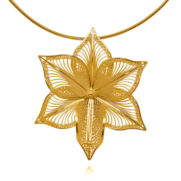 ORCHIDS CHOKER NECKLACE FILIGREE SILVER, GOLD, ROSE GOLD - Olmox