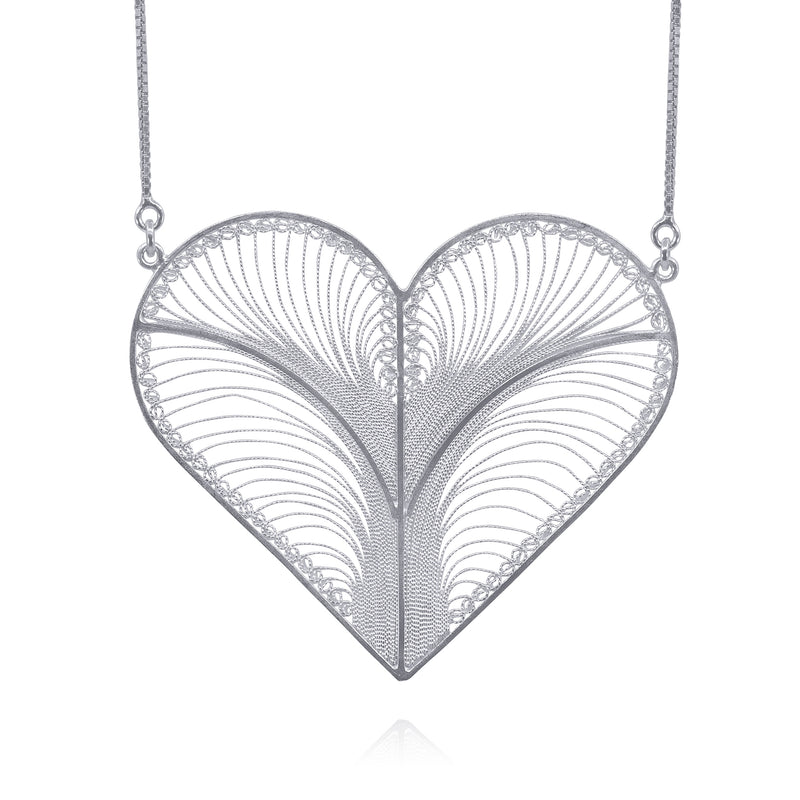 KYLIE HEART ADJUSTABLE  NECKLACE FILIGREE SILVER & GOLD - Olmox