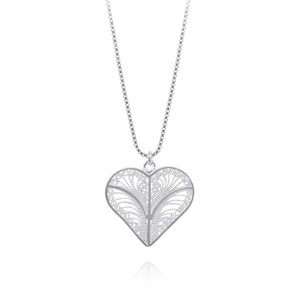 KYLIE HEARTS SMALL PENDANT NECKLACE FILIGREE SILVER & GOLD - Olmox