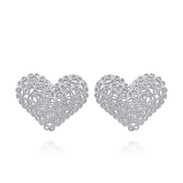 KATE HEARTS STUDS EARRINGS FILIGREE SILVER & GOLD - Olmox