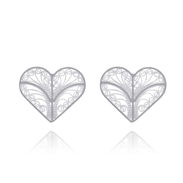 KYLIE HEARTS STUDS EARRINGS FILIGREE SILVER & GOLD - Olmox
