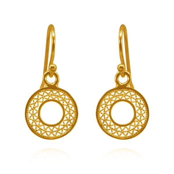 VALERIA EXTRA SMALL EARRINGS FILIGREE SILVER & GOLD - Olmox