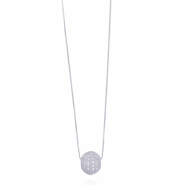 LUCRECIA SMALL SPHERE LONG NECKLACE FILIGREE SILVER & GOLD - Olmox