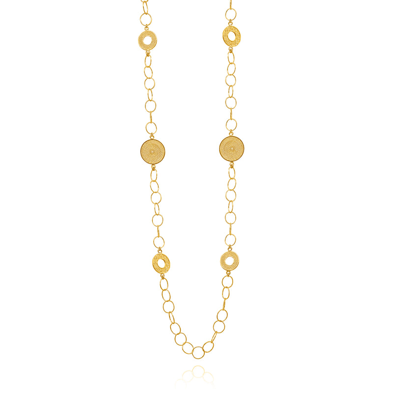 ZAYRA LONG NECKLACE FILIGREE SILVER & GOLD - Olmox