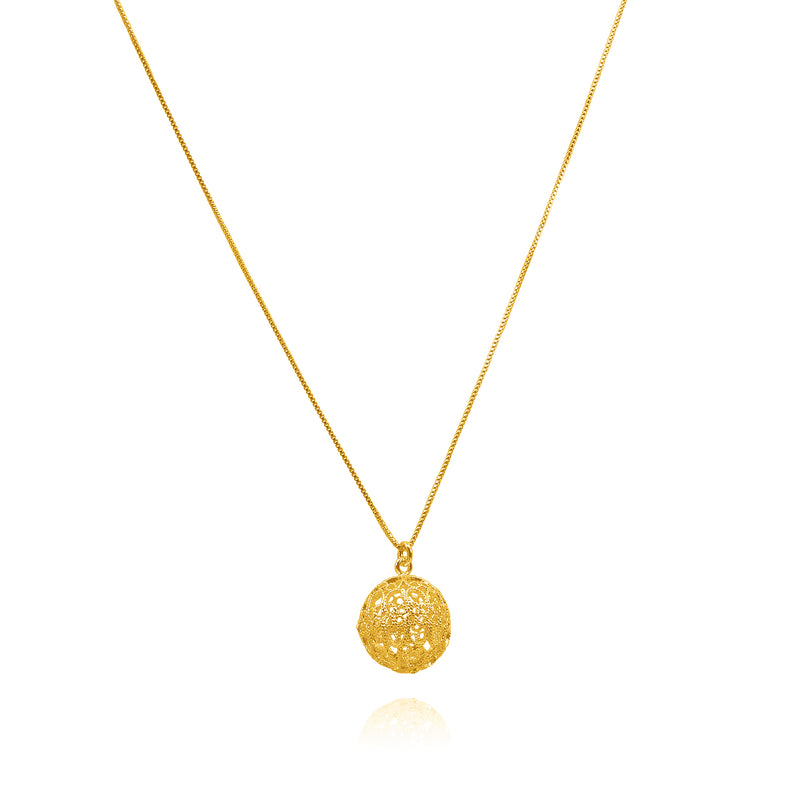LUCRECIA SMALL PENDANT NECKLACE FILIGREE SILVER & GOLD - Olmox
