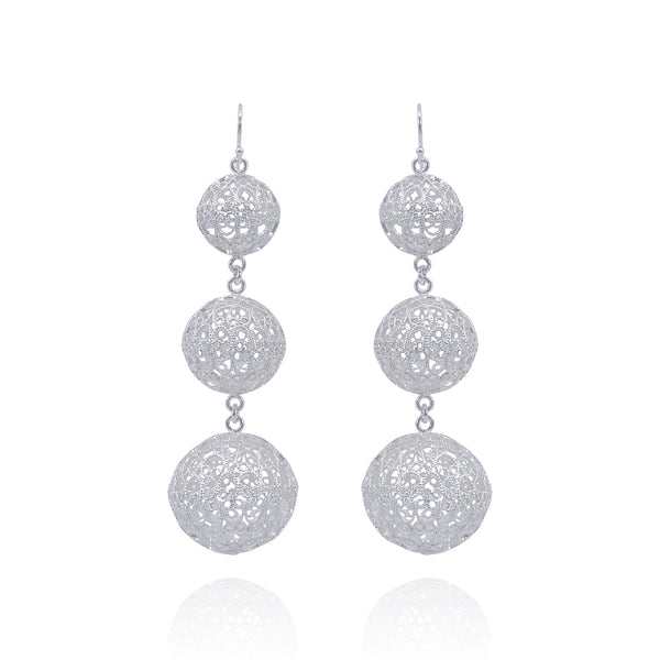LUCRECIA LARGE STATEMENT EARRINGS FILIGREE SILVER & GOLD - Olmox