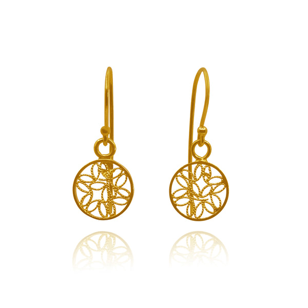TINY COINS SMALL EARRINGS FILIGREE SOLID GOLD 18k