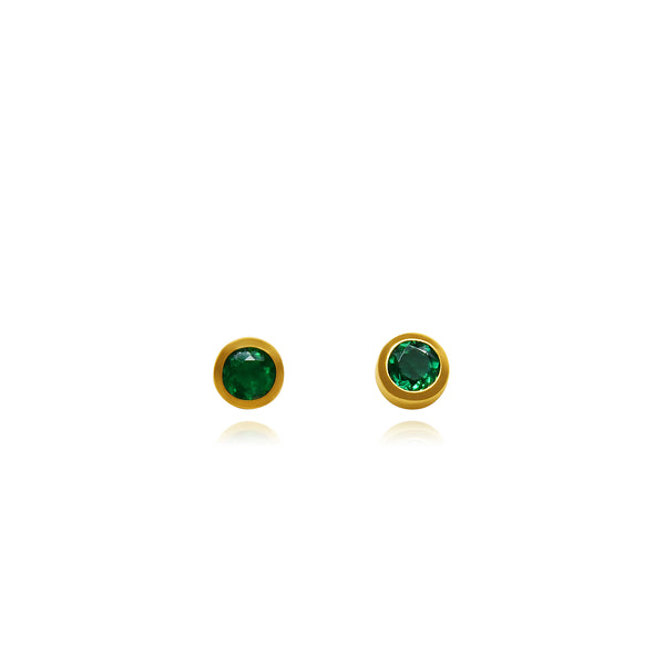 CIRCULAR EMERALDS STUDS SOLID GOLD 18K