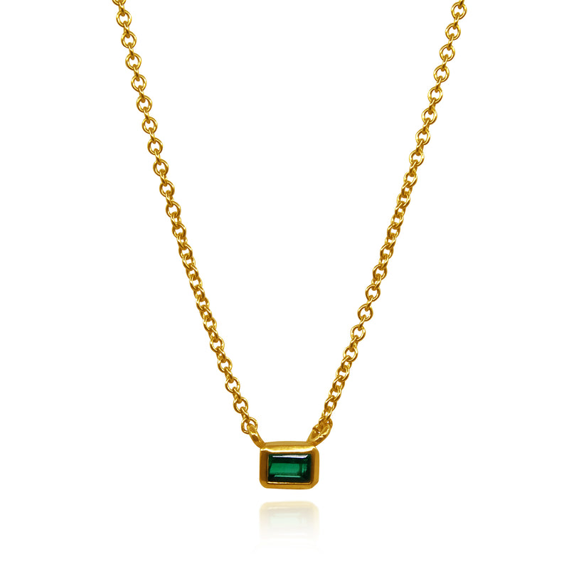 RECTANGULAR EMERALD PENDANT SOLID GOLD 18K
