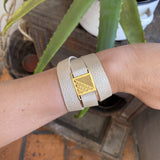 LOURDES LEATHER BRACELET FILIGREE SILVER & GOLD - Olmox