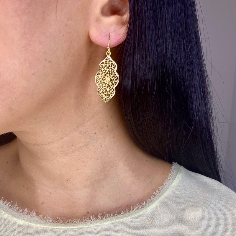 MIRANDA MEDIUM EARRINGS FILIGREE SILVER & GOLD - Olmox