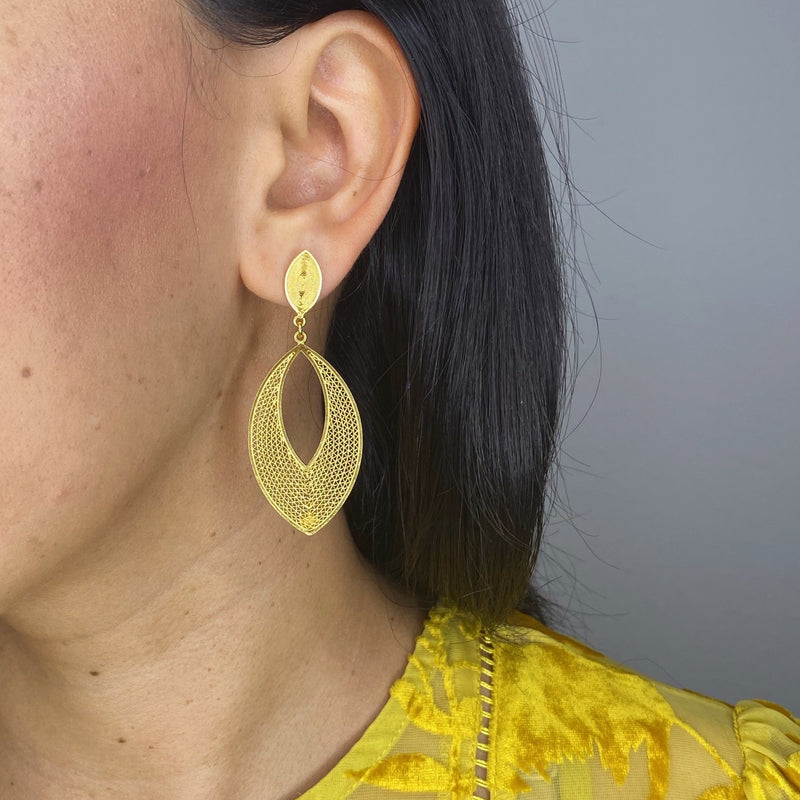 IRIS  LARGE EARRINGS FILIGREE SILVER & GOLD - Olmox