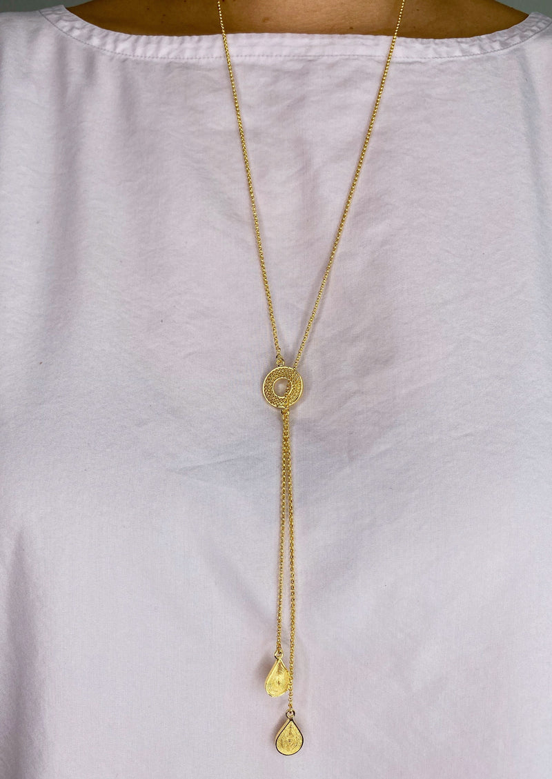 LASSO DOBLE LONG NECKLACE FILIGREE SILVER & GOLD - Olmox