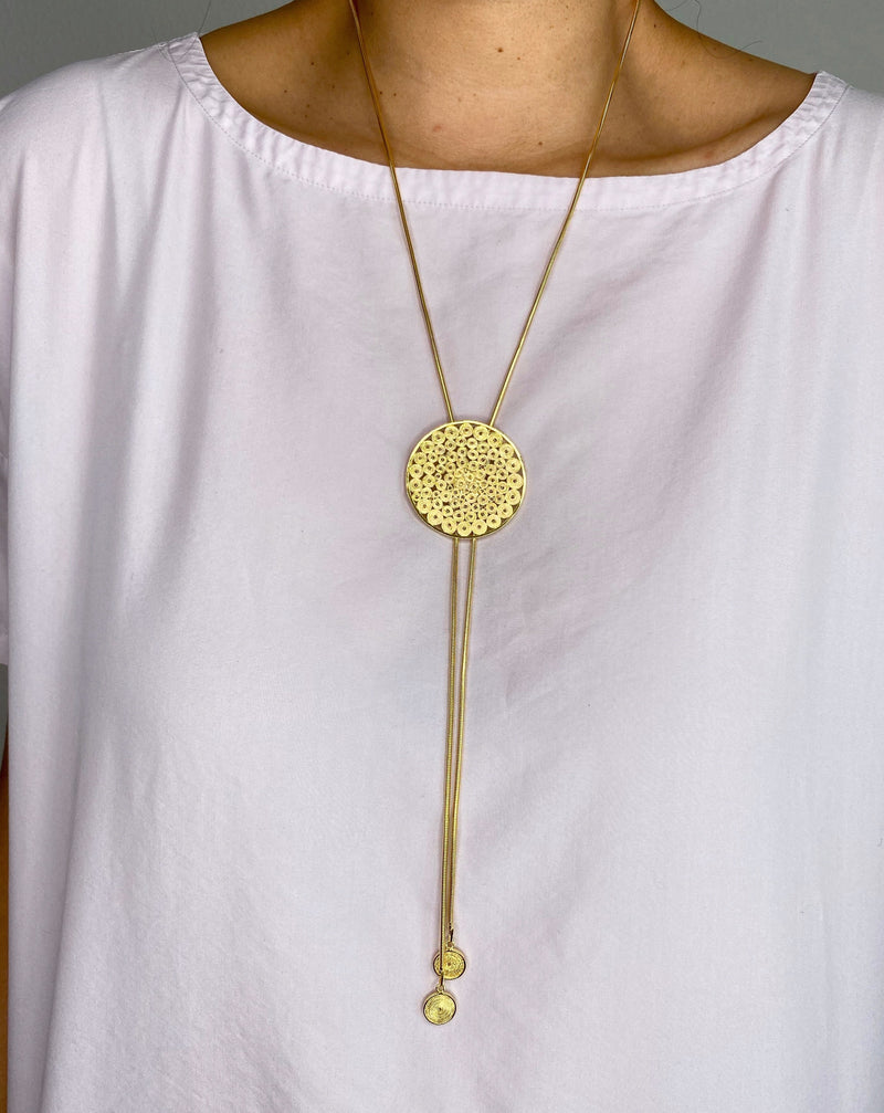 BECKY LONG NECKLACE FILIGREE SILVER & GOLD - Olmox