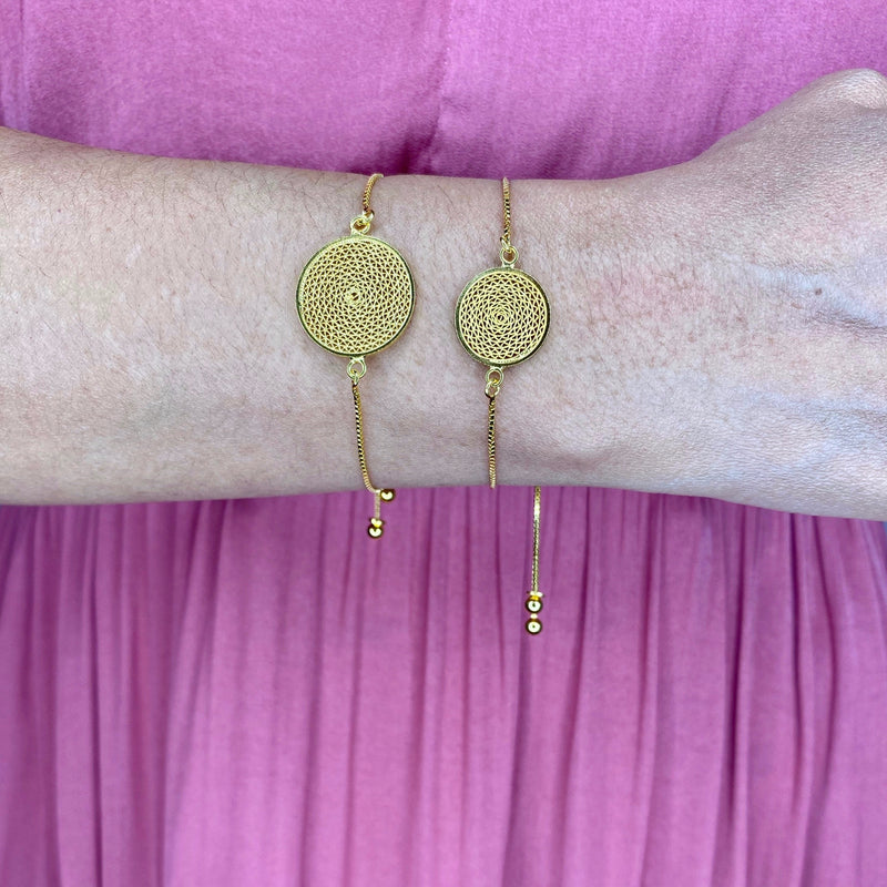 MELI MEDIUM DREAM CATCHER ADJUSTABLE BRACELET FILIGREE SILVER & GOLD - Olmox