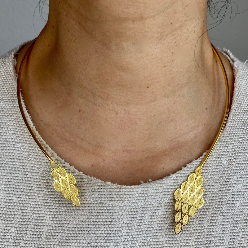 SALOMON CHOKER NECKLACE FILIGREE SILVER & GOLD - Olmox