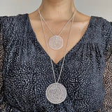 EMMA LARGE PENDANT NECKLACE FILIGREE SILVER & GOLD - Olmox