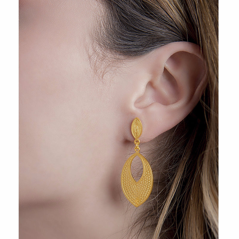 IRIS MEDIUM EARRINGS FILIGREE SILVER & GOLD - Olmox