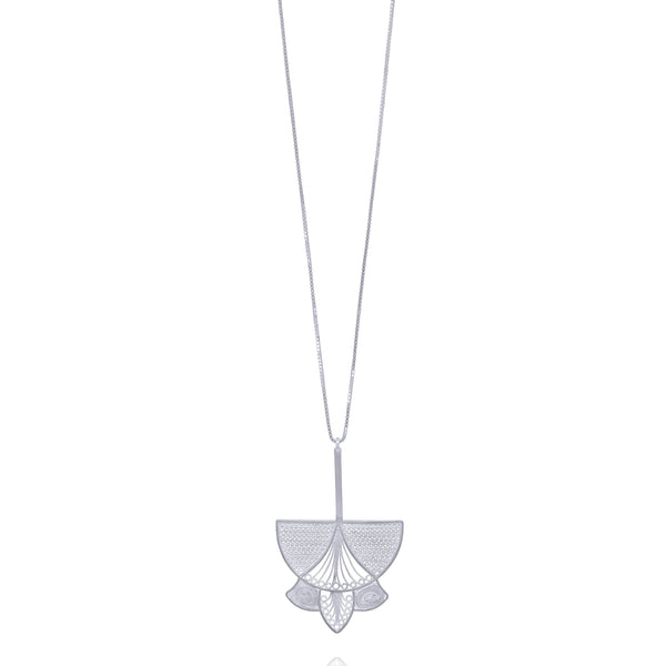 AGATHA NECKLACE LONG SILVER - Olmox