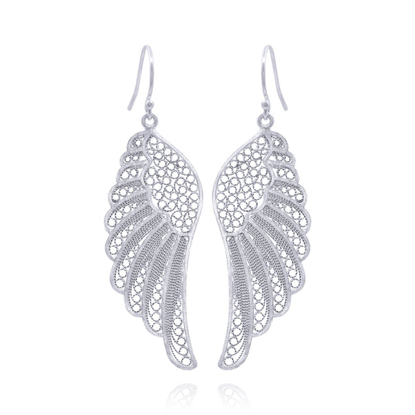 ANGEL WING EARRINGS SILVER - Olmox