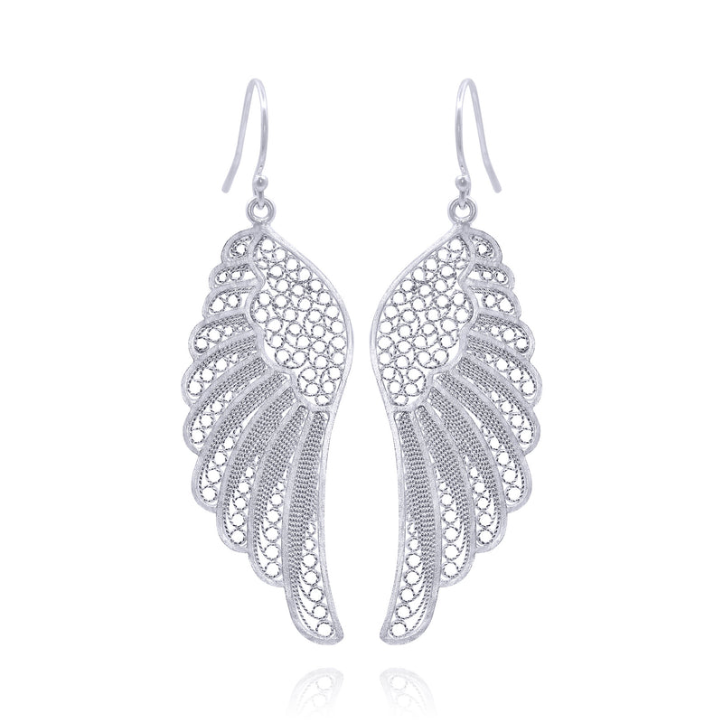 Angel wings earrings silver filigree handmade silver by olmox