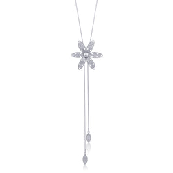 Annie necklace long silver flower adjustable necklace long filigree jewelry silver by olmox