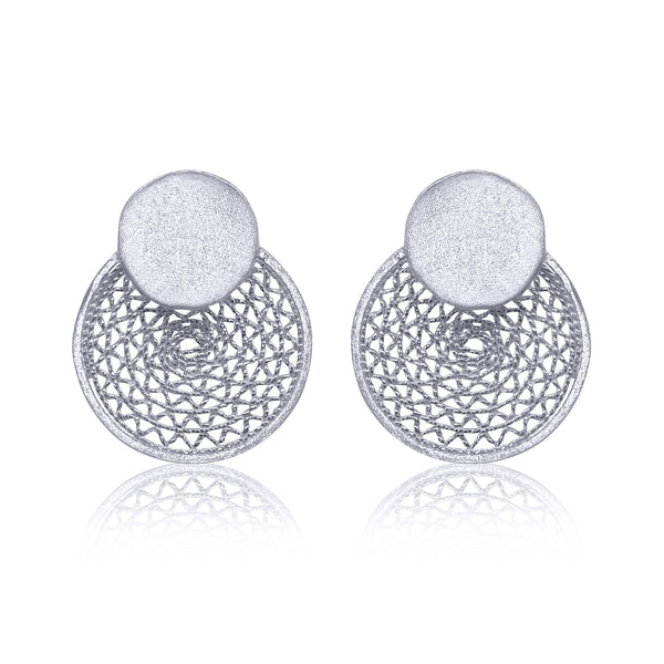 Blanch stud earrings silver classic modern filigree jewelry by olmox made in Houston