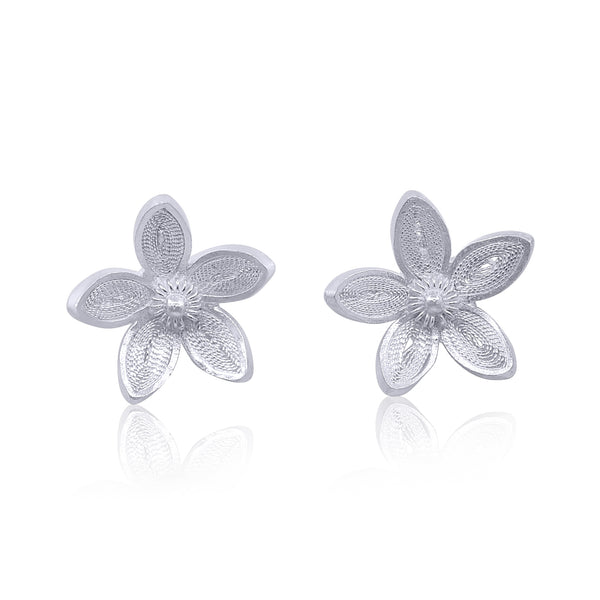 blossom flowers stud earrings filigree intricate detail handmade by olmox